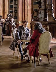 S2  At King Louis XV's Palace in Versailles, France. Jamie is having a game of chess with Monsieur Joseph Duvernay, the King's Minister of Finance.