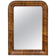 1900s French Louis Philippe Faux Burl Wood Painted Frame Mirror For Sale