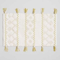 Give your feet a comfy textural treat with our exclusive bath mat featuring ivory tufting with ivory and cress-green woven braided stripes. It's complete with tassels along both sides for a stylish look. Bathroom Niche, Bathroom Rugs, Bathroom Ideas, Striped Shower Curtains, Cress, Bath Rugs, Braids, Stripes, House Styles