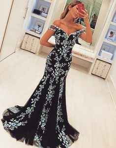 Off the Shoulder Black Prom Dress with Lace $170.00