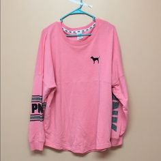 Victoria's Secret varsity crew Small stain you can barely see. Super comfy. Fits bigger PINK Victoria's Secret Tops Tees - Long Sleeve