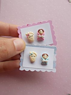 Pregnancy earrings made of polymer clay, with a baby and a baby foot. This is a cute pair of earrings created from polymer clay without molds or forms. The earrings metal is nickel free. The lenght of each earring is 1.2 cm.  ❀ Because i make everything by hand, the item you receive may differ