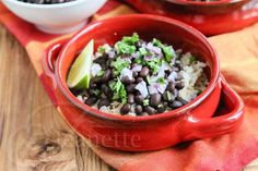 Slow Cooker Chipotle Style Black Beans Recipe, double garlic, black pepper and onion, use cayenne instead of chipotle, use thyme instead of bay leaf