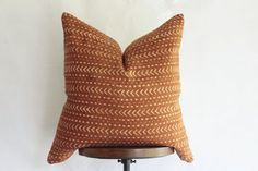 African MudCloth Pillow Cover Burnt Orange by ONEAFFIRMATION