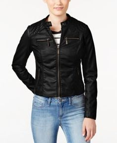Jou Jou Juniors' Zip Front Faux-Leather Moto Jacket - Black L