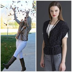 Street style for fall: Vests are the must-have item this fall! Create a great casual look with a long sleeve tee and some tall boots!! Pattern (right) is the Desdemona Vest in Filatura di Crosa's ZARA PRINT MELANGE (Inspiration photo, left, from Pinterest)