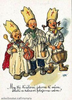 "Fischerova Kvechova MFK - Children St Nicholas Nikolo old postcard "" Postcards For Sale, Old Postcards, Retro Images, Vintage Pictures, Christmas Drawing, Christmas Art, Vintage Greeting Cards, Vintage Christmas Cards, Comic Styles"