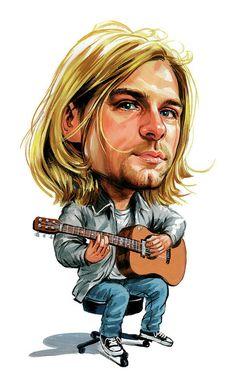 Memorabilia Nirvana - Kurt Cobain Caricature Heavy Metal Sticker Or Magnet Nirvana Kurt Cobain, Kurt Cobain Art, Caricature Artist, Caricature Drawing, Funny Caricatures, Celebrity Caricatures, Cartoon Faces, Funny Faces, Kurt Cobain Painting
