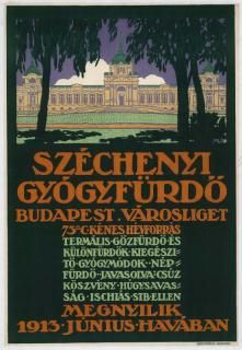 One of my favourite places in the world. Poster for Szechenyi baths and pool in Budapest. Trieste, Prague, Budapest, Europe Centrale, Tourism Poster, Railway Posters, Pub, My Town, Vintage Travel Posters