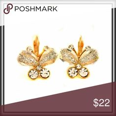 BUTTERFLY CRYSTAL EARRINGS Delicate and elegant clear crystal butterfly earrings. Jewelry Earrings