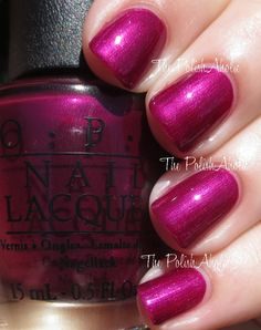 """OPI """"Kiss Me- or Elf"""" nail polish/gel from OPIs Holiday 2014 Gwen Stefani Collection. Beautiful shimmery fuschia! LOVE!"""