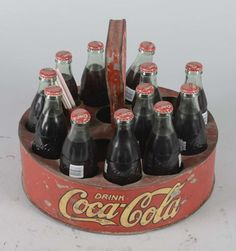 Coca Cola Round Ball Park Carrier With Bottles - 3 Coca Cola Vintage, Coca Cola Ad, Always Coca Cola, Coca Cola Bottles, Soda Bottles, Vintage Advertisements, Vintage Ads, Vintage Stuff, Beer