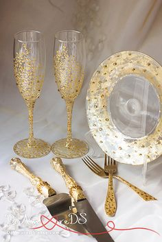 Gold crystals, wedding glasses, wedding forks & plate, cake server and knife, collection gatsby, wedding gift ideas, wedding supplies 7 pcs