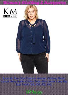 Kissmilk Plus Size Fashion Women Clothing Basic Casual Sexy Halter Chiffon Tops Slim Loose Long Big Size T-shirt 3XL 4XL 5XL 6XL