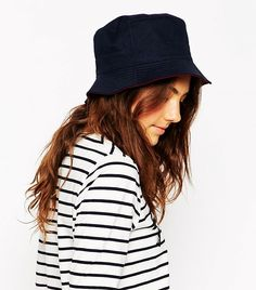 ASOS Plain Reversible Bucket Hat in blue and red