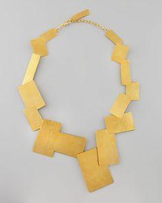 Herve Van Der Straeten Hammered Gold Geometric Necklace - Bergdorf Goodman