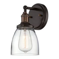 Nuvo Lighting Sconce Wall Light with Clear Glass in Rustic Bronze Finish 60/5514