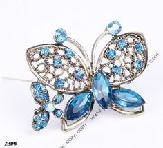 4.7x3.5cm Fancy Blue Butterfly Jewelry Beauty Crystal Rhinestone Pin Brooch #eozy