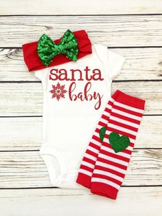 Santa Baby Christmas Baby Girl Outfit – Baby For look here Santa Baby, Baby Grinch, Baby Christmas Onesie, Babies First Christmas, Christmas Christmas, Burlap Christmas, Christmas Crafts, Thanksgiving Baby Outfits, Holiday Outfits