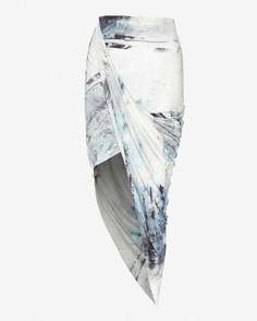Intermix  Helmut Lang Printed Asymmetrical Wrap Skirt