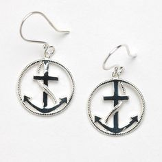 Southern Gates Round Anchor Earrings in Sterling Silver