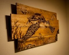 Swimming Sea Turtle bySimplyPallets in Carrboro, North Carolina - made from recycled, reclaimed, pallet wood, hand painted with wood stain Wood Burning Crafts, Wood Burning Patterns, Wood Burning Art, Wood Crafts, Diy Crafts, Wood Pallets, Pallet Wood, Diy Wood, Pallet Art