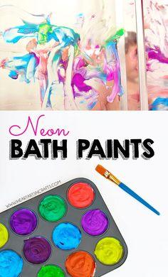 2 Ingredient Neon Bath Paint Recipe Painting Activities, Craft Activities For Kids, Infant Activities, Time Activities, Learning Activities, Projects For Kids, Diy For Kids, Crafts For Kids, Bath Paint