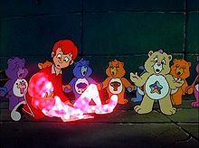 """Care Bears Movie II: A New Generation. The part where they bring Christy back to life by chanting """"We Care!"""" After this, Dark Heart becomes a real boy. Brings back memories of watching this. Care Bears Movie, Red Head Boy, Sunshine Bear, In Medias Res, Two Movies, My Generation, Precious Children, My Childhood, Action Figures"""