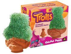 Trolls Chia Poppy Pottery Planter Pet Seeds Care Fun Grow NEW  #Chia