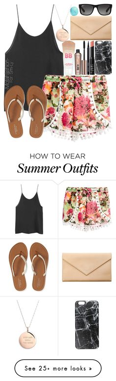 """""""Summer Outfit"""" by mota-fashion on Polyvore featuring Quiz, Aéropostale, Casetify, Carré Royal, Kate Spade, Ray-Ban and Eos"""