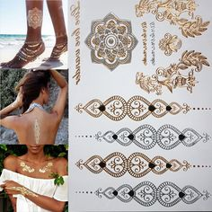 Fashion flower body temporary henna tattoos metallic gold and silver bracelet stickers Flash tattoo art.✋More Pins Like This At FOSTERGINGER @ Pinterest✋✌