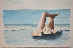 Un dipinto ad acquerello creato da me di una donna al mare! Visitate il mio negozio su www.Etsy.com  !