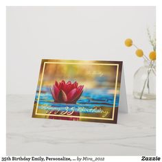 Shop Birthday Sarah Red Water Lily Elegant Cursive Card created by Personalize it with photos & text or purchase as is! Happy 35th Birthday, 30th Birthday Cards, Happy Birthday Wishes, Birthday Gifts, Red Water, Family Birthdays, Custom Greeting Cards, Thoughtful Gifts, Cursive Script