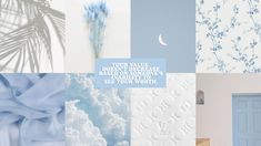 baby blue grid collage simple