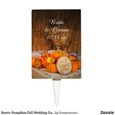 Rustic Pumpkins Fall Wedding Cake Topper