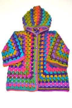 Gestricken Mädchen wolle afghanischen häkeln Hoodie Strickjacke, Baby/kleinkind mädchen Dreiviertel Ärmel, farbig  Diese Strickjacke ist aus %
