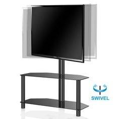 Hollow Core Swivel Floor Stand with Mount and Two Shelves for 32 to 50 Inch TV