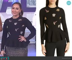 b03e9c8c20abd1 Adrienne s black embellished peplum top on The Real. Outfit Details   https   . WornOnTV