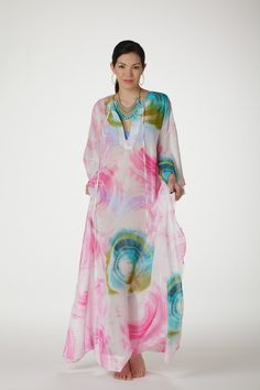 Wrinkle Free V Neck Kaftan with Sash. Handmade in Los Angeles. by KENNAMAXI on Etsy