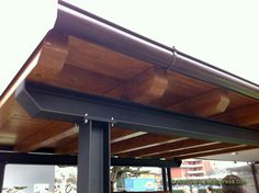 I-beam and wood pergola