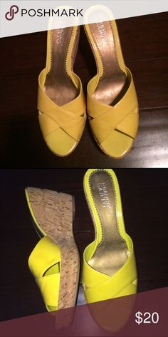 """Wedges with heels Yellow patent leather cork heeled wedges 3""""heel Franco Sarto Shoes Wedges"""