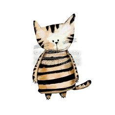 Striped Cat open edition print by TheNebulousKingdom on Etsy. Art of the Cat.