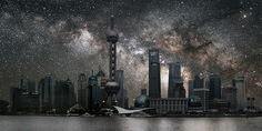 With every passing day, increasing light and air pollution from growing cities diminishes our ability to observe the cosmos. French artist Thierry Cohen draws attention to this creeping loss in his series Villes éteintes (Darkened Cities), which imagines the world's largest cities under clear night skies.