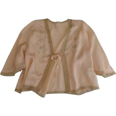 1930's Silk Charmeuse & Lace Embroidered Bed Jacket Peach from blacktulip on Ruby Lane