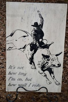 Vintage Distressed Wood Bull Rider Cowboy Sign By Dollickdesigns 34 99