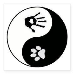 Dog Paw Print & Handprint Yin Yang Square Stic on CafePress.com