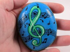 Painted Rock Clef Note Blue and Green Music Notes Musician