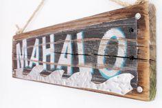 Mahalo Beach Sign on Reclaimed Distressed Wood Beach Art Surf Shop Wooden Sign Coastal Beach Surf Baby Nursery Beach Theme Kids Room