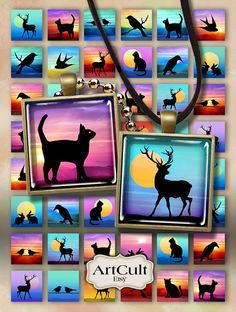 ANIMAL SILHOUETTES - 1x1 inch and 1.5x1.5 inch size printable images Digital Collage Sheet for pendants magnets bezel trays artcult graphics...