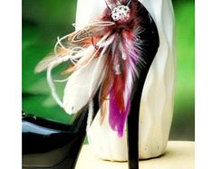 Wedding Peacock Feather Shoe Clips. Rose Pink & Rhinestone.